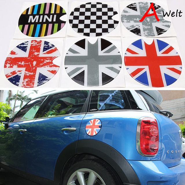 Mini Gas Tank Cover Cooper S R56 Union Jack Uk Checker Flag Pattern Cry Emblem Cap Sticker Modified Decoration Decal