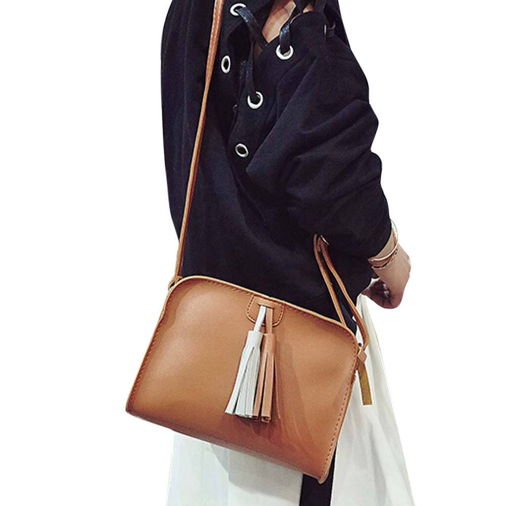 Tassel Bag Women Shoulder bag 2017 New Simple Fashion Ladies Elegant Pu Leather Bag Females Messenger Bags Bolsa Feminina Apr12 new fashion women pu leather shoulder bags vintage tassel female messenger bag ladies handbag clutch bags bolsa feminina dec28