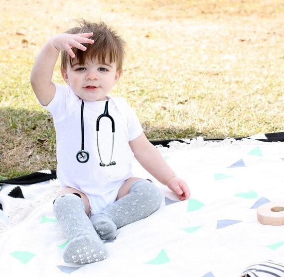 Baby Summmer Short Sleeve O-neck Jumpsuit Handsome Baby Doctor Cute Stethoscope Gentlemen Clothes Bodysuit DS19