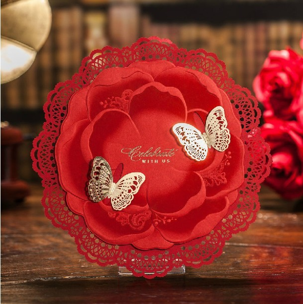 gold butterfly wedding invitations 2015 red laser cut party invitation card paper hollow