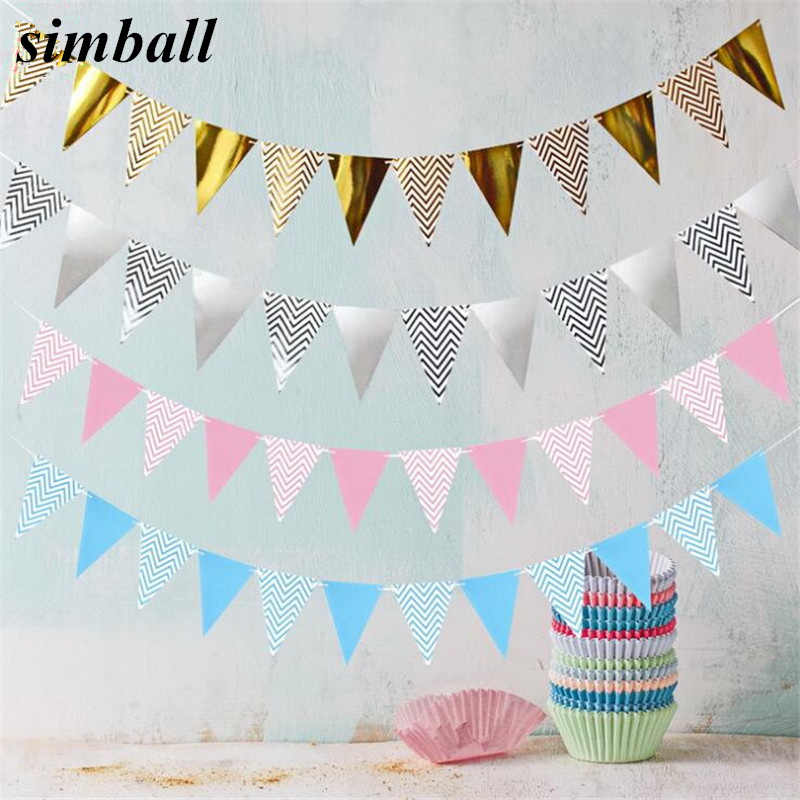 5M Wavy Banner Paper Flag Party Garland Decoration Banner Bunting Wedding Event Birthday Party Decorations Kids Party Supplies