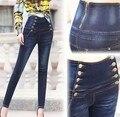 Calças de Brim do vintage Da Moda Plus Size Mulheres De Cintura Alta Jeans Calças Skinny Mulheres Calça Jeans Seios Duplas