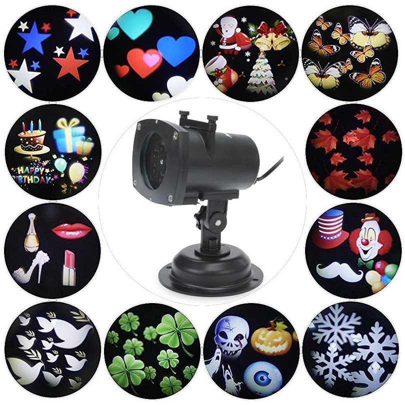 Christmas Holiday Lights Laser Projector Lamps LED Stage Light Heart Snowflake Party Landscape Light with 12 Replaceable Lens christmas heart snowflake halloween spider bowknot projector lights led stage lamps
