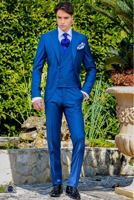266 Latest Coat Pant Designs Royal Blue Italian Men Suit Classic Gentle Tuxedo Prom Blazer Custom 3 Piece Jacket Masculino DC5