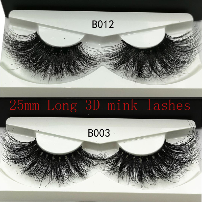 2019 NEW 25mm Long 3D Mink Lashes Extra Length Mink Eyelashes Big Dramatic Volumn Eyelashes Strip Thick False Eyelash