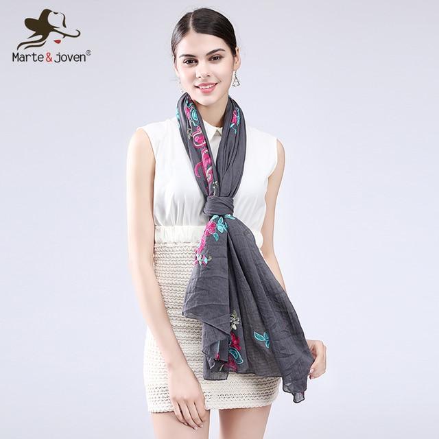7322b2bcc77c9 Marte&Joven Classic Ethnic Floral Embroidery Cotton Scarves Pashmina Women  Multicolor Retro Flower Shawl&Wrap