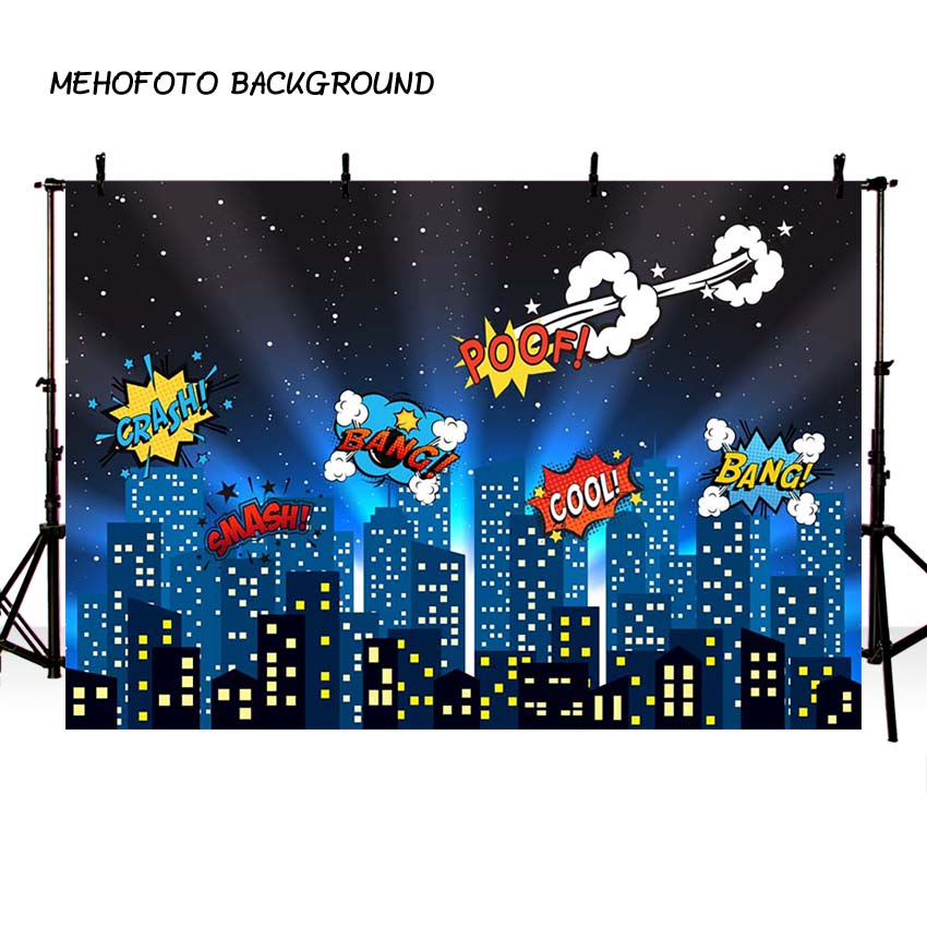 MEHOFOTO Superhero City Theme Photography Backdrop Children Birthday Party Backdrop for Photo Studio Background Custom G-156 ...