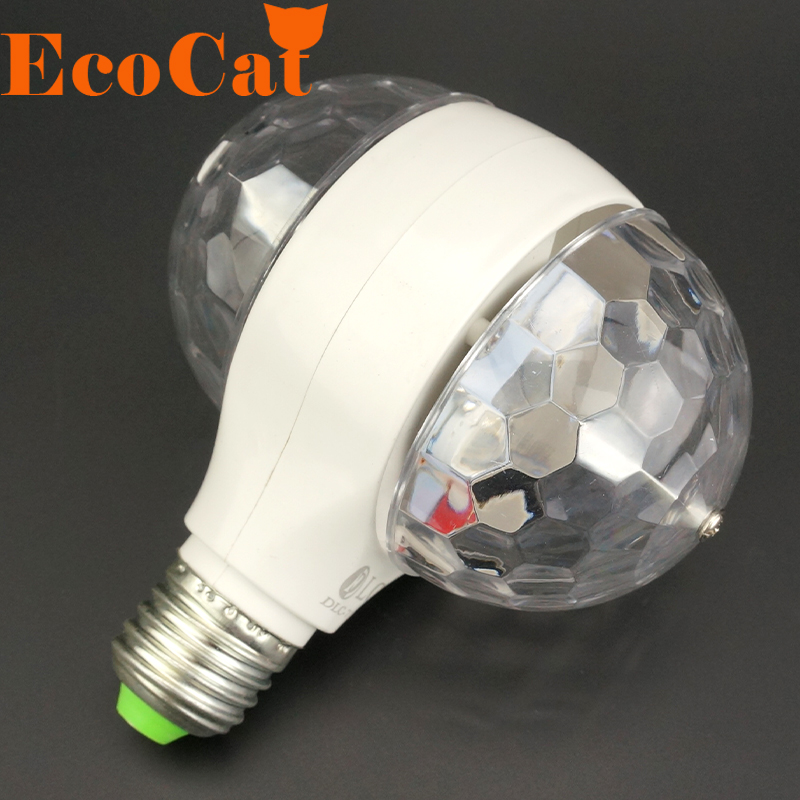2016 Hot Sale 6W E27 110v 220v Colorful Auto Rotating RGB Crystal Stage Light Magic double