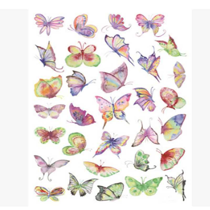 2 Sheet Cute A5 Hand Painted Butterfly Decorative Sticker Set Diary Album Sticker Label DIY Scrapbooking