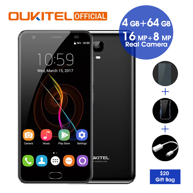 "bilder für Oukitel K6000 Plus Android 7.0 MTK6750T Octa-core 4G RAM 64G ROM 5,5 ""FHD 6080 mAh Fingerabdruck 12 V/2A Schnelle Lade Smartphone"