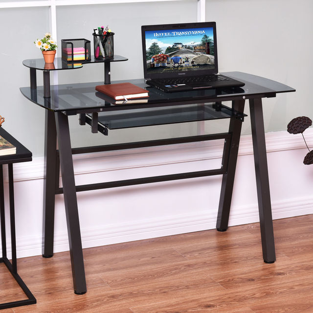 Giantex Office Gl Top Computer Desk Modern Pc Laptop Table Home Workstation Metal Frame With Printer
