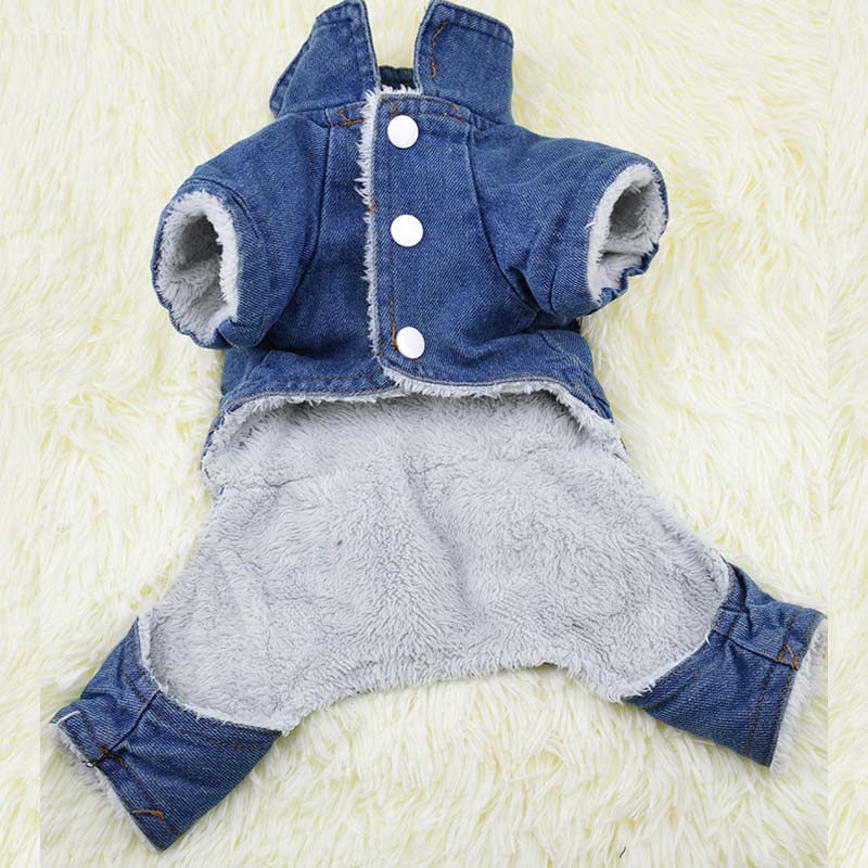 ⊰Invierno gruesa jeans mascotas ropa capa del mono para los perros ...