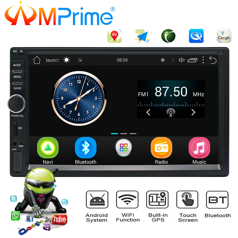 AMPrime Auto Radio 2 Din Android GPS Navigation Car Radio Car Stereo 7 1024*600 Universal Car Player Wifi Bluetooth USB Audio auto android 6 0 car audio gps navigation 2din car stereo radio car gps bluetooth usb universal interchangeable player tv 8g map