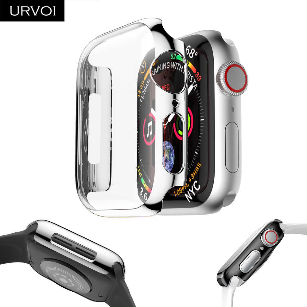 URVOI Full Cover for Apple Watch series 4 3 2 Plastic case hard screen protector for iWatch Ultra-thin electroplating case band
