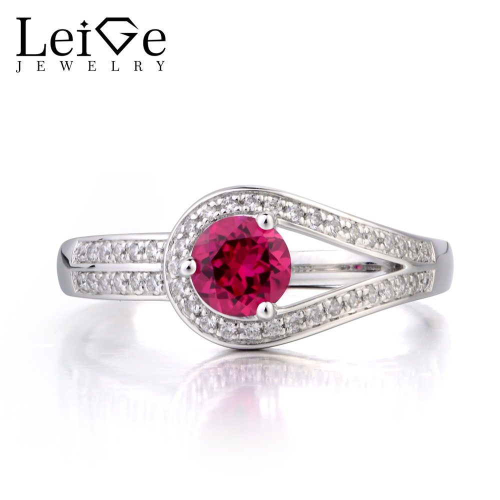 цена на Leige Jewelry Anniversary Ring Ruby Ring July Birthstone Round Cut Red Gemstone Solid 925 Sterling Silver Ring Gifts for Women