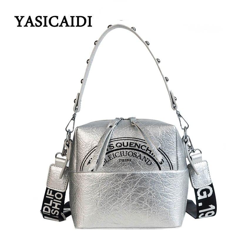 Shoulder Bags for Woman Soft Pu Leather Rivet Female Handbag Wide Shoulder Straps Letter Women Tote Bags Famous Brand