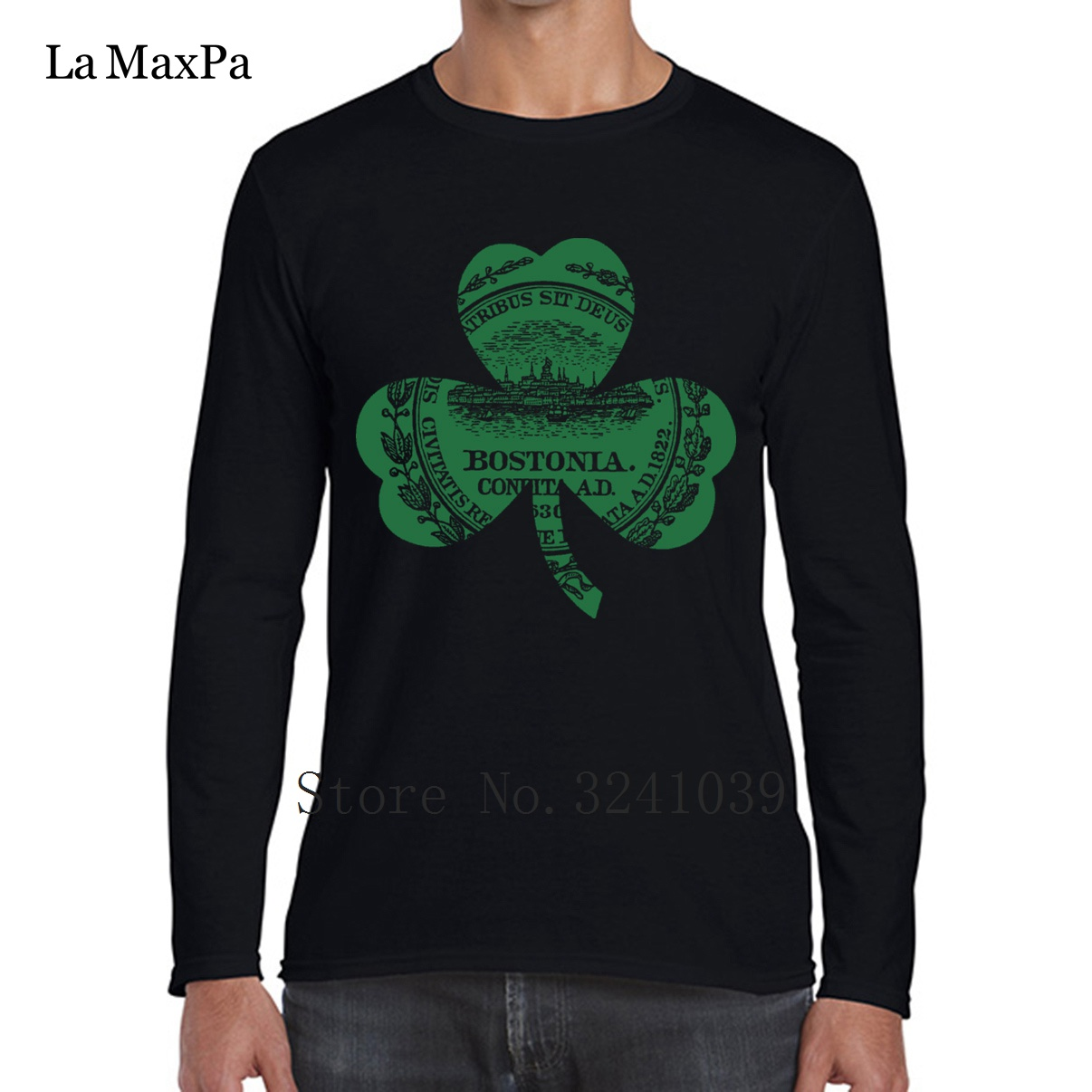 La Maxpa Casual Bostonia Boston <font><b>Massachusetts</b></font> Streetwear Apparel Tee Men's Tee Shirt Spring Men T-Shirt Adult O-Neck Tshirt image
