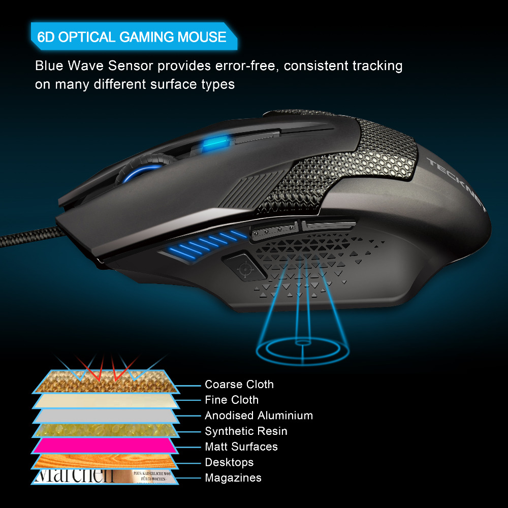 Image 3 - TeckNet Wired Gaming Mouse Ergonomic Mice 6 Button Optical Computer Mouse 2000dpi USB Wired PC Mouse for Computer Laptop PC-in Mice from Computer & Office