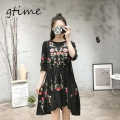 GTIME women vintage long sleeve flower floral black dress elegant  vestidos casual loose round collar ruffle dresses # WGT72