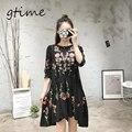 Gtime vintage mujer de manga larga floral de la flor negro dress elegante vestidos casuales suelta cuello redondo de la colmena viste # wgt72