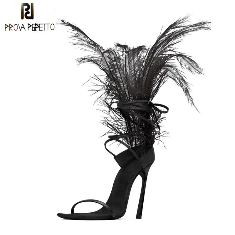 Sexy Black Feather Sandals For Women Ostrich Hair Decor Thin High Heels Dance Shoes ladies Fur