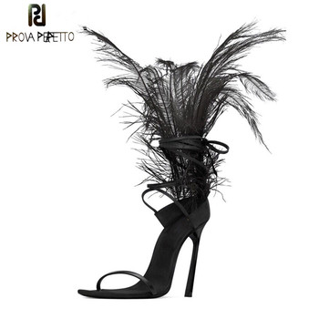 Sexy Black Feather Sandals For Women Ostrich Hair Decor Thin High Heels Dance Shoes ladies Fur Sandals T Show Party Shoes 2019
