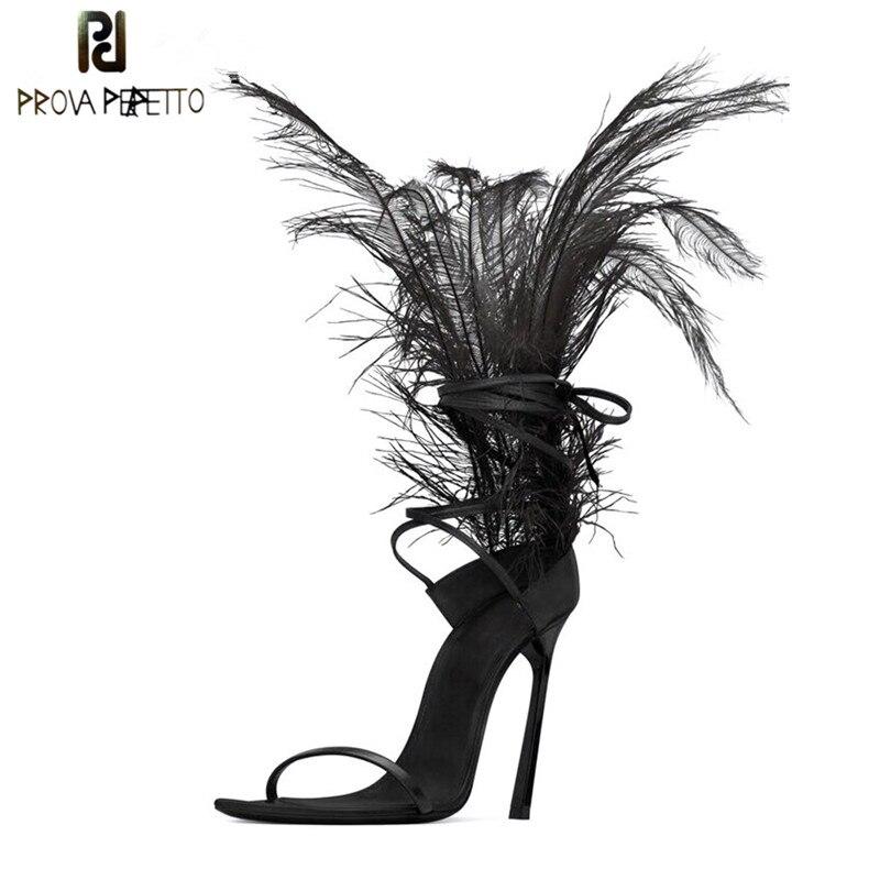 Sexy Penas Preto Sandálias Para As Mulheres de Pele De Avestruz Cabelo Decoração Finos Saltos Altos Sapatos de Dança das senhoras Sandálias Partido zapatos de mujer