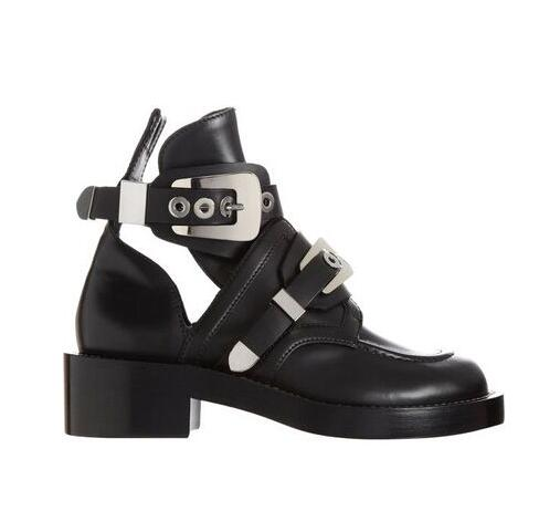 Famous Brand Cut Out Buckle Women Top Leather Motorcycle Boots Cool Gladiator Bootie Silver Gold Black Buckle Strap Ridding Boot