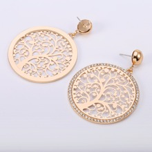 Big Hollow Round Tree Of Life Crystal Drop Earrings For Women Vintage Gold Party Fashion Jewelry Wholesale ship
