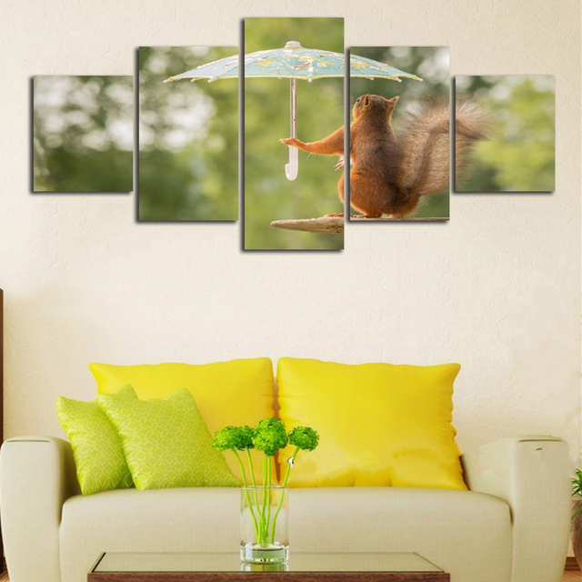 Hot Sale Squirrel Hold Umbrella Funny Animal Poster Unframed ...