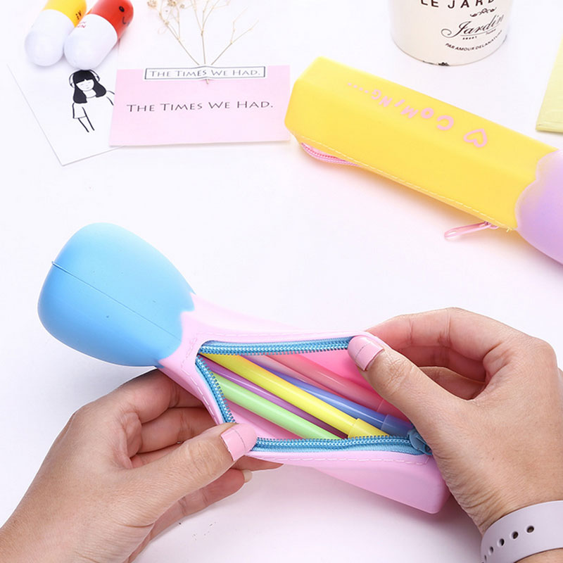 1 pcs Candy color matches shape silicone bags women Makeup bag Cosmetic Brush Storage Pouch Case children pen bags Free shipping