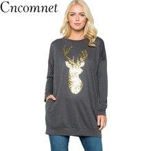 Christmas Elk Deer Pullovers Women Sweatshirts 2018 Winter Fashion Female Pullover Ladies Patchwork Tops Causal Clothing цены