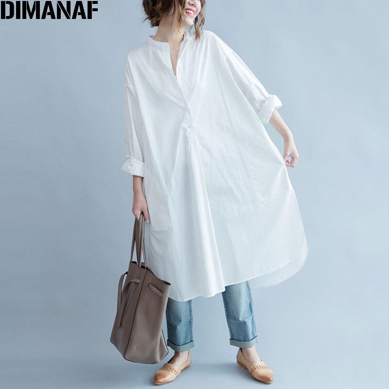 DIMANAF Women Blouse Plus Size Autumn Cotton Long Blouse Solid O-Neck Split Casual Fashion Loose White Elegant Female Blouse