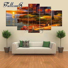 FULLCANG 5pcs diy diamond painting lakeside house and boat full drill cross stitch mosaic 3d embroidery multi-picture G1269