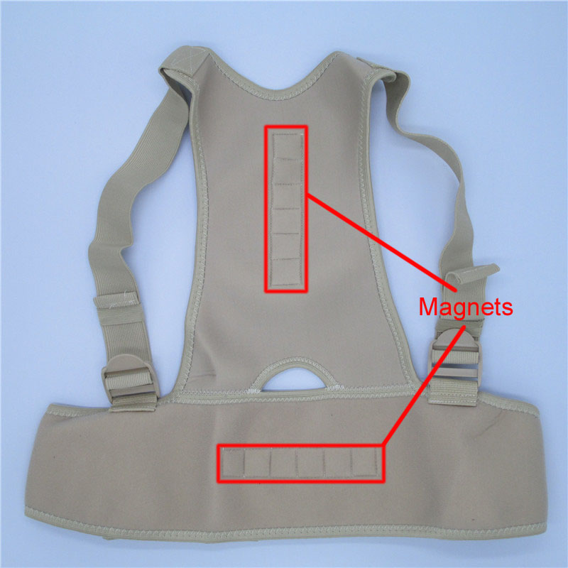 Adjustable Therapy Shoulder Magnetic Back Posture Corrector for Student Men and Women 2 Sizes Braces Support T174-Skin