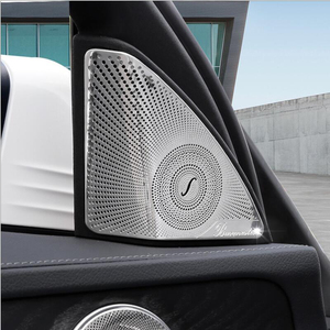 Stainless Steel Car styling Door Tweeter Audio Speaker Decorative Cover Trim 3D sticker for Mercedes Benz 2015-2018 C-Class W205