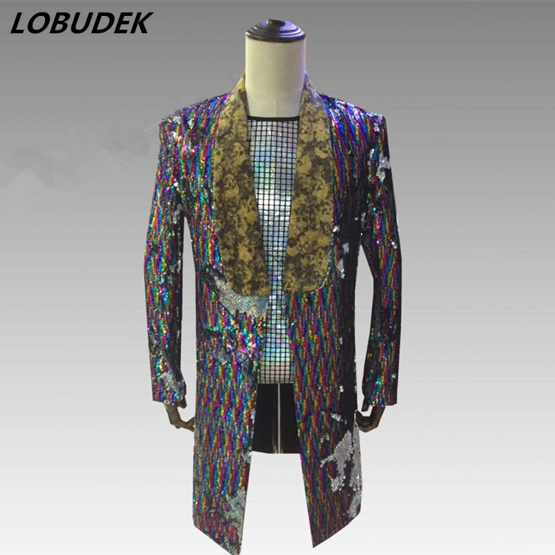 Men Reflector Sequins Long Blazers Coat Fashion Slim Outerwear Nightclub Male Singer Rock Costume Bar Party Compere Show Costume