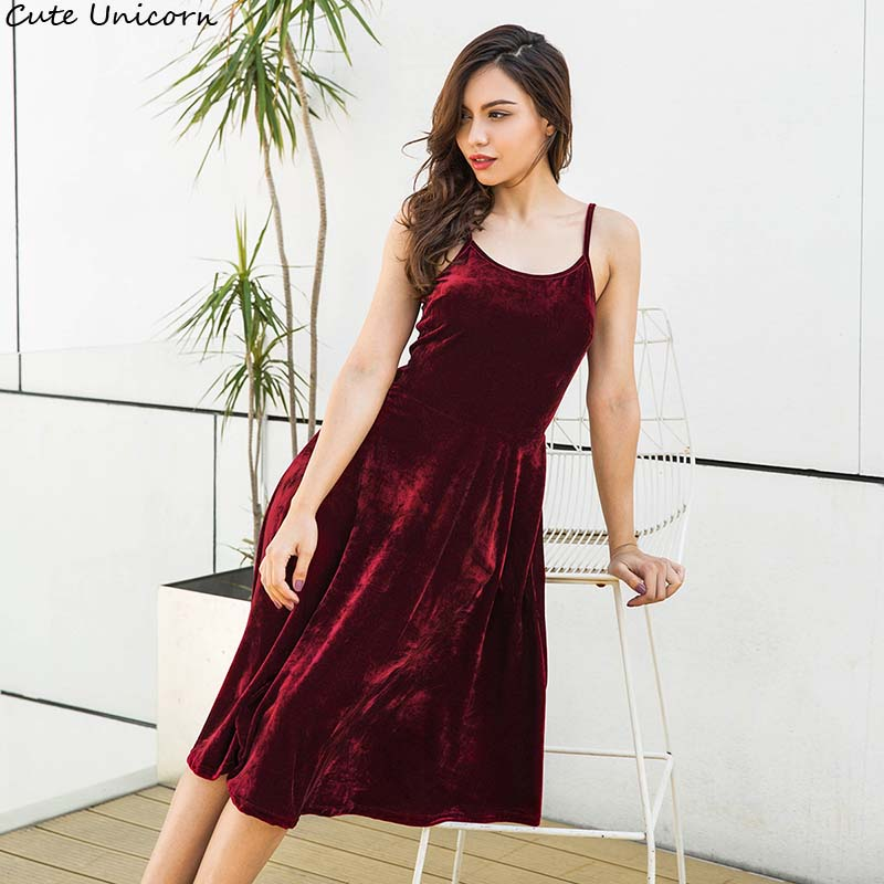 High Quality Women Sexy Fashion Autumn bandage dress backless Sleeveless Spaghetti Strap Party Mid Velvet Robe Velours Dress