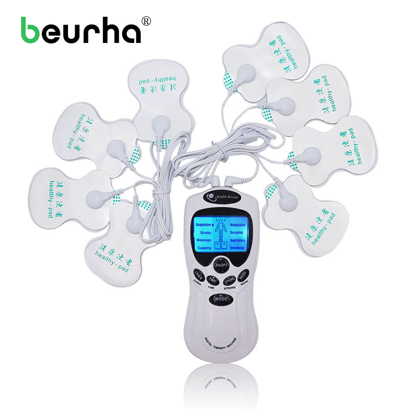 Beurha Tens Acupuncture Electrical Massager Device With Electrode Pads Body Massge Pulse Machine Health Care 8 Electrode Pads 4 electrode tens acupuncture electric therapy massageador machine pulse body slimming sculptor massager apparatus body care