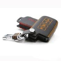 Car key trường hợp che cho toyota camry 2012 Genuine Leather Key Xe Bìa chain vòng wallet chủ 2012 4 nút