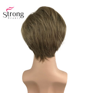 Image 4 - StrongBeauty Light Brown Short Mens Wigs Synthetic Full Wig for Men