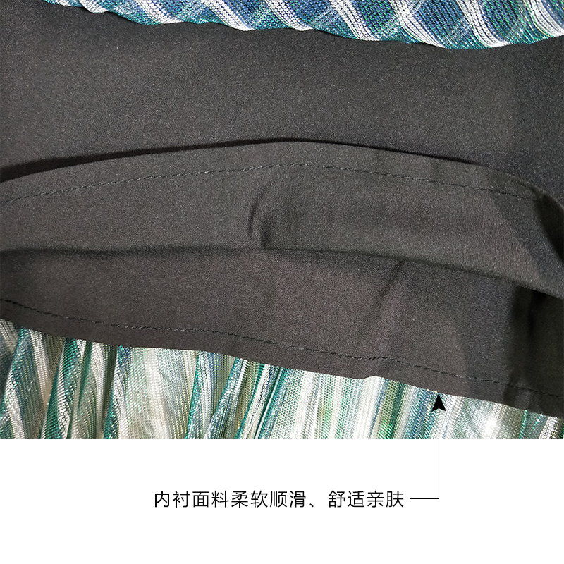Cintura Iris Green Elástica Las Blingbling De Moda Arco Falda Para Mujeres Rayas Mujer Hermoso Faldas Plisada aq85w