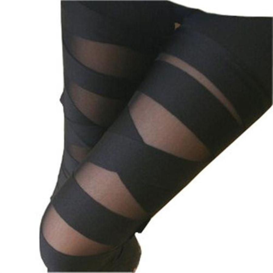 See Through Striped Leggings