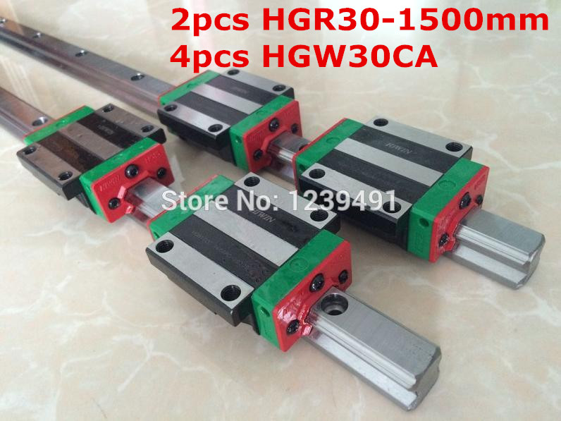 2pcs original  HIWIN linear rail HGR30- 1500mm  with 4pcs HGW30CA flange carriage cnc parts 2pcs original hiwin linear rail hgr30 300mm with 4pcs hgw30ca flange carriage cnc parts