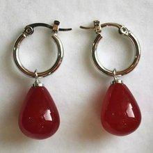 brinco wedding brincos moda pendientes earring Natural Red Jade 925 Sterling Silver Hook Teardrop Earrings bling jewelry 925 sterling silver teardrop hook earrings