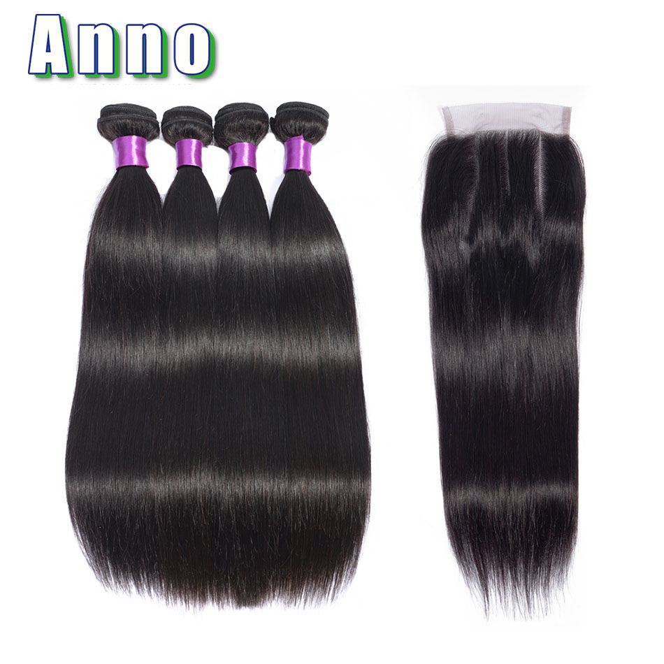 Anno Hair Brazilian Straight Hair Lace Closure Hair Weave Bundles Non Remy Natural Color Human Hair