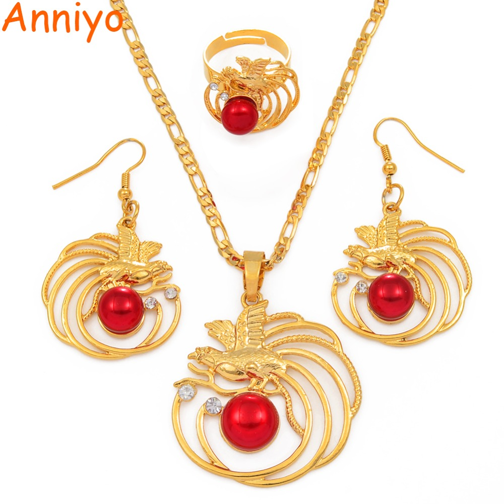 Anniyo Red Pearl Bird Pendant Necklaces Earrings Ring Papua New Guinea Traditional Ornament New Jewellery PNG Gifts #144006RD