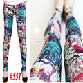 Fashion Girl Sexy Tatto Character Cat Harajuku Slim Fitted Pencil Elastic Waist Leggings Pants
