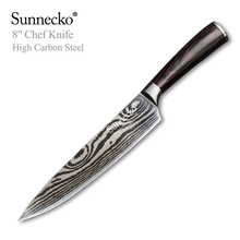 SUNNECKO 8 inch Chef Knife Sanding Damascus Laser Pattern Blade High Carbon Steel Knives Sharp Chefs Kitchen Tools