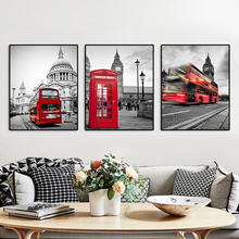 British Bus Pavilion Canvas Painting Calligraphy Poster and Prints Living Room House Wall Decor Art Home Decoration Picture black and white art canvas painting calligraphy poster and prints living room house wall decor art home decoration picture